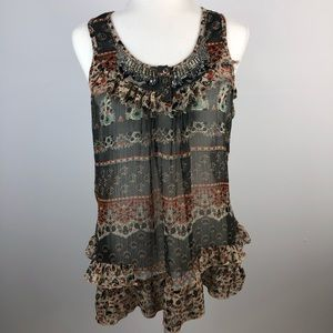Solitaire Boho Flowy Tank Top  Ruched and Beaded